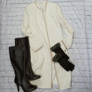 Calvin Klein ivory tan duster jacket size 6
